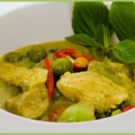 Thai green chicken curry with steamed vegetables