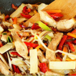 Wok fried ginger chicken and almonds