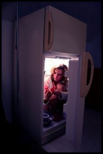 Woman in the Freezer from Menopause Hot Flushes