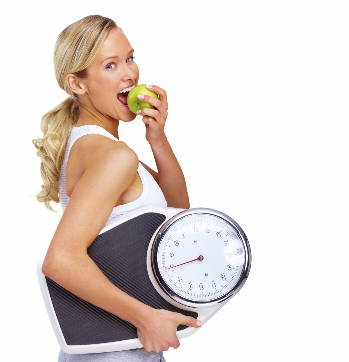 Woman doing HcG Diet holding scales after doing weight loss assessment